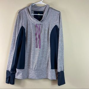 Kiwi Kate Cowl Neck Ruched Active Gray Pullover